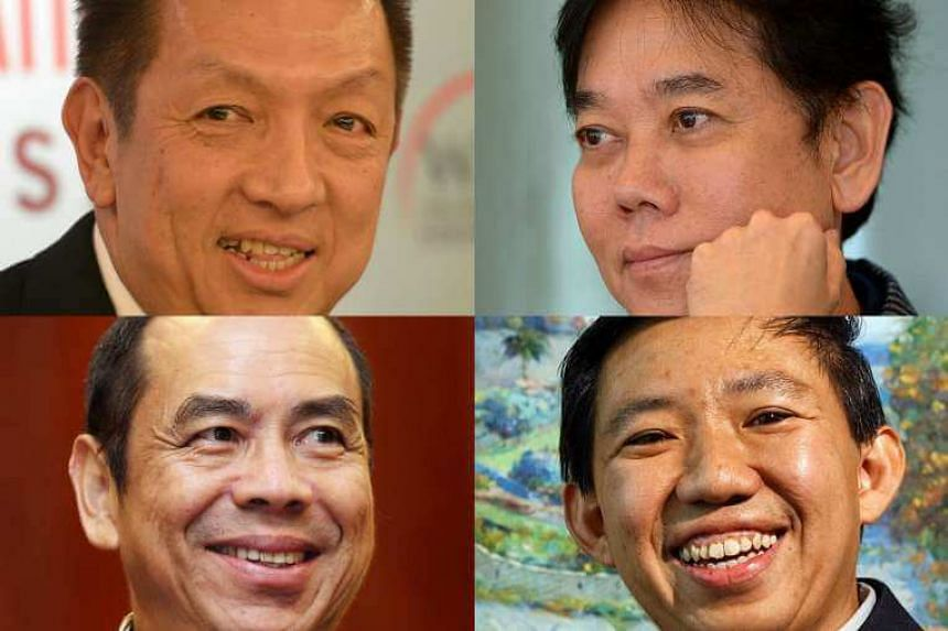 """Lee Sze Yong's potential targets included (clockwise from top left) billionaire Peter Lim, Breadtalk's George Quek, Fragrance Group chairman Koh Wee Meng and """"popiah king"""" Sam Goi."""