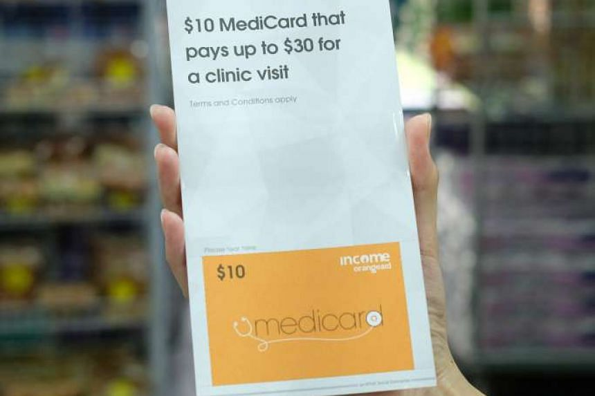 The MediCard is available over the counter at Income branches island-wide, with the exception of Income@Raffles, as well as FairPrice Shops located at Circuit Road and Eunos Crescent.