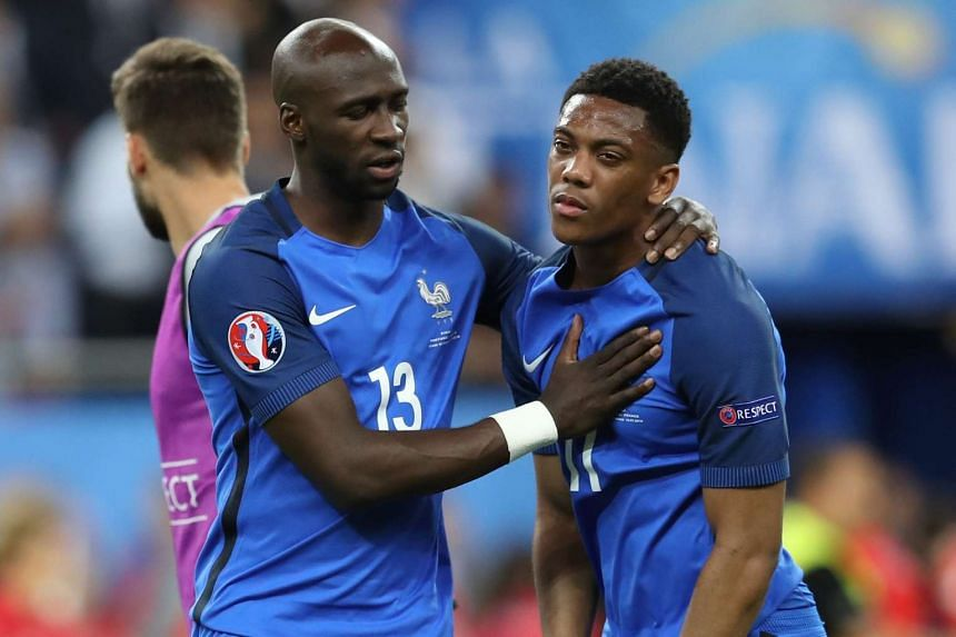 France defender and Manchester City player Eliaquim Mangala (left) with France forward Anthony Martial during Euro 2016.