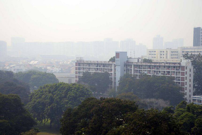 Hazy skies in the eastern part of Singapore on Aug 26, 2016. Air quality is expected to remain in the moderate range on Sept 3, said NEA.