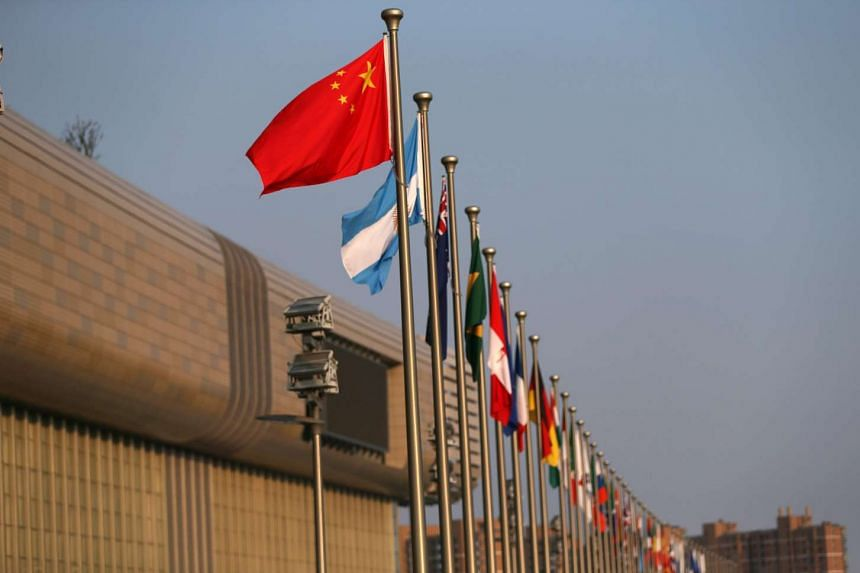 G20 member countries flags' fly outside the Hangzhou International Expo Centre, the main venue for the G20 summit in Hangzhou City on Sept 2, 2016.