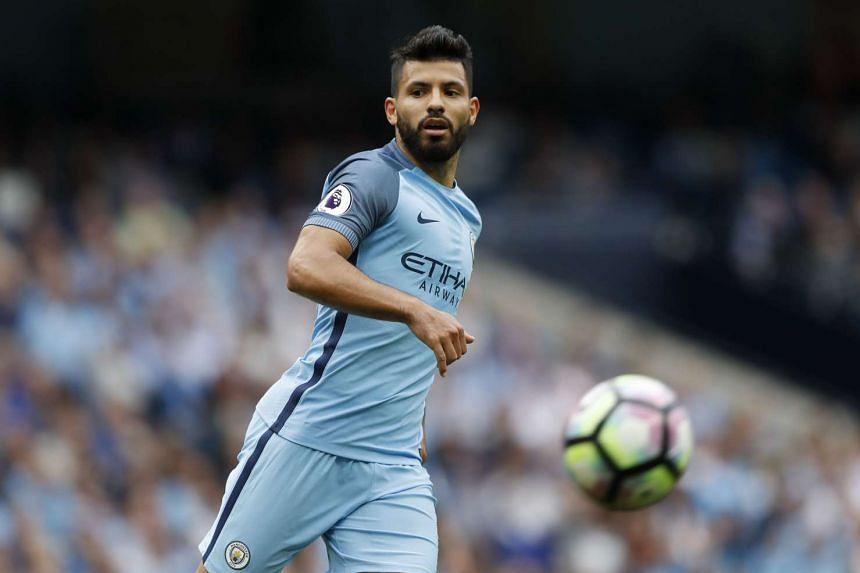 Manchester City's Sergio Aguero in action against West Ham.