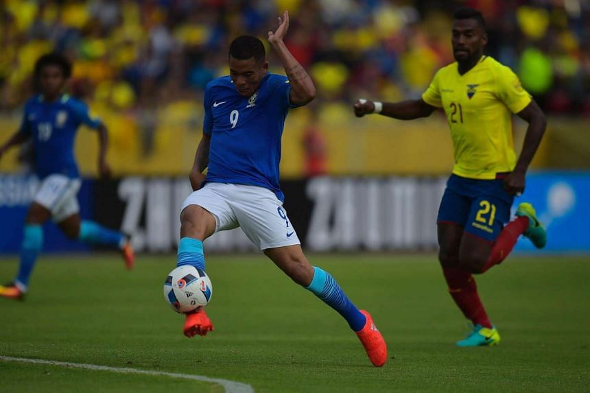 Brazil's Gabriel Jesus controlling the ball during their 2018 Fifa World Cup qualifying football match between Ecuador and Brazil, on Sept 1.