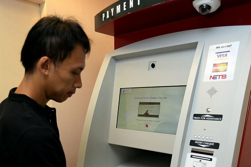 Demonstration of State Courts first-of-its-kind self service payment kiosk on Sept 2, 2016.