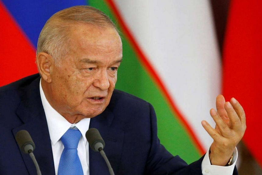Uzbek President Islam Karimov speaks during a joint news conference at the Kremlin in Moscow, Russia on April 26, 2016.
