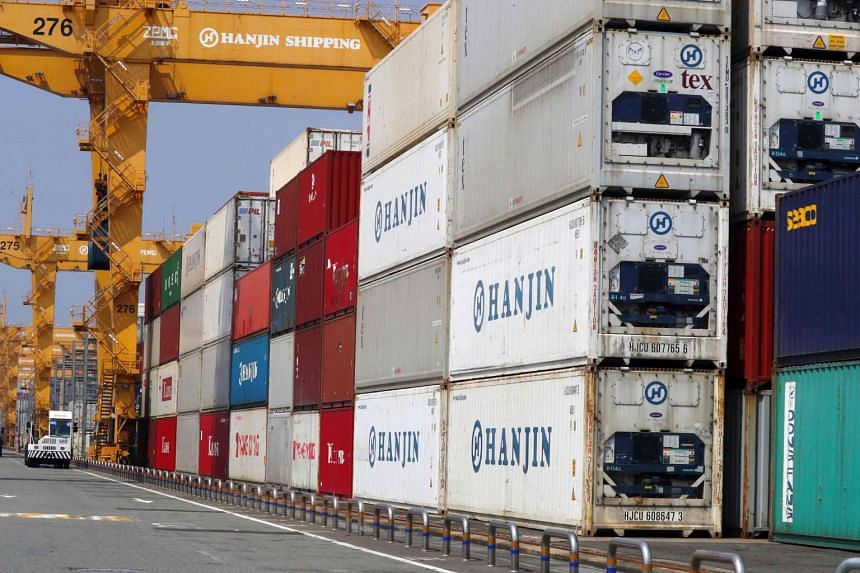 Containers stacked up at a cargo terminal of Hanjin Shipping in the south-eastern port city of Busan, on Sept 1, 2016.
