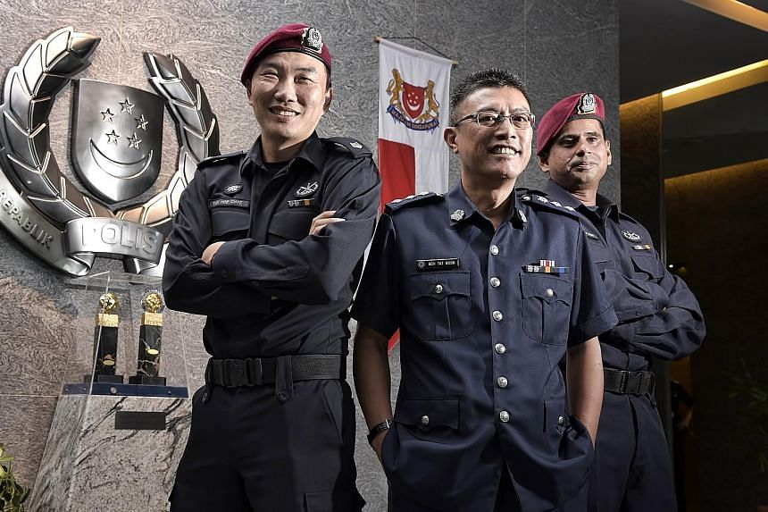 Among the newly appointed officers are (from left) ASP Tan Hoe Chye, 43; Supt Goh Tat Boon, 48; and Senior Station Inspector Mohammed Noh, 40. The scheme is part of efforts to attract more young people and retain good officers.