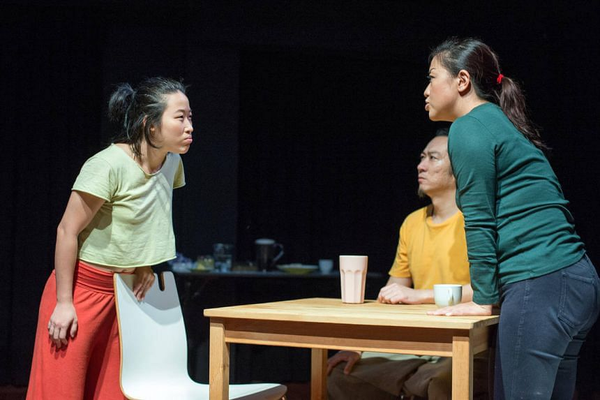 Eng Kai Er (left), Michael Cheng (centre) and Eleanor Tan in Sleeping Naked by In Source Theatre.