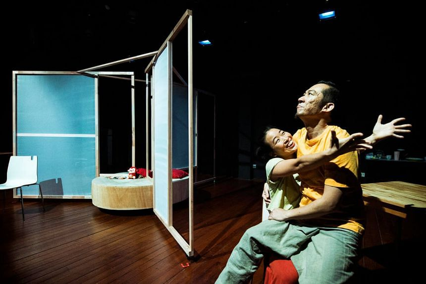 Michael Cheng as Stony and Eng Kai Er as his daughter Leng Leng in Sleeping Naked by In Source Theatre.