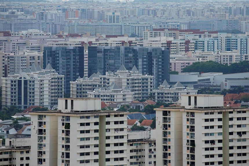 A view of private residential apartments and public housing estates in Singapore.