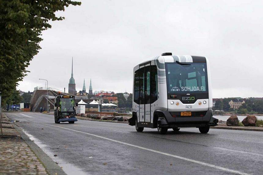 A self-driving shuttle bus undergoes testing in Helsinki, Finland, on Aug 26, 2016.