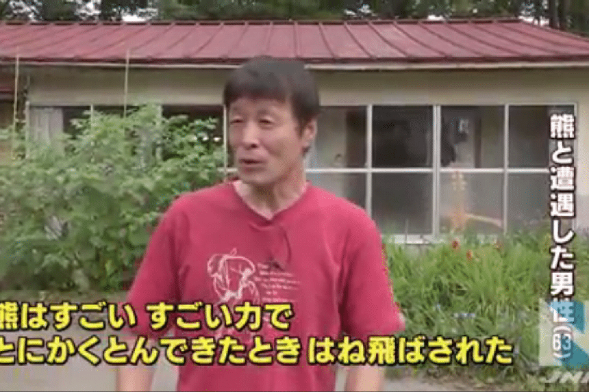 A 63-year-old man who fought off an attacking bear using his bare hands narrates his experience to the media in Gunma Prefecture, Japan.