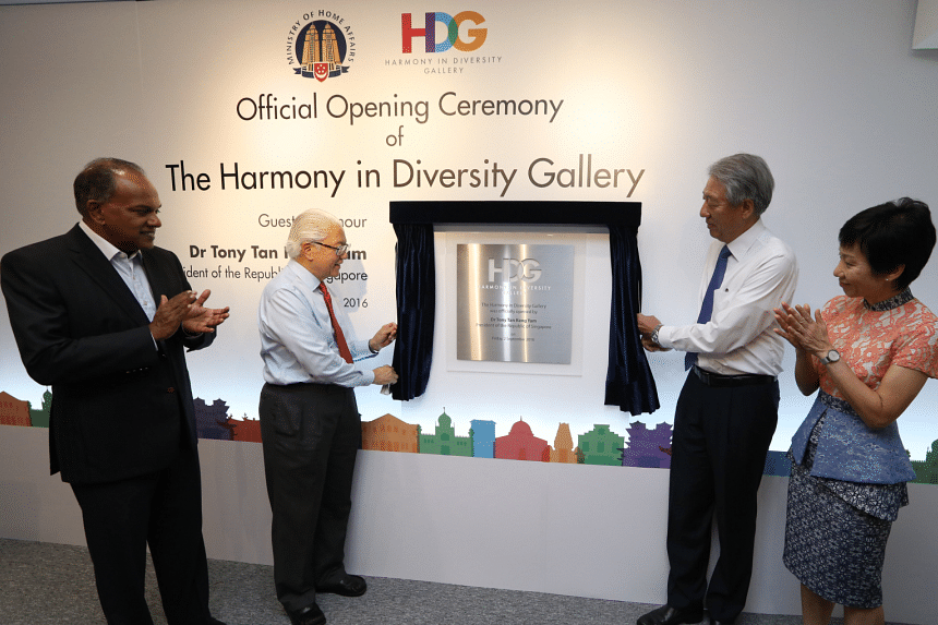 President Tony Tan officially launches the Harmony in Diversity Gallery. Joining him are Minister for Home Affairs and Law K Shanmugam, Deputy Prime Minister and Coordinating Minister for National Security Teo Chee Hean, and Minister for Culture, Com