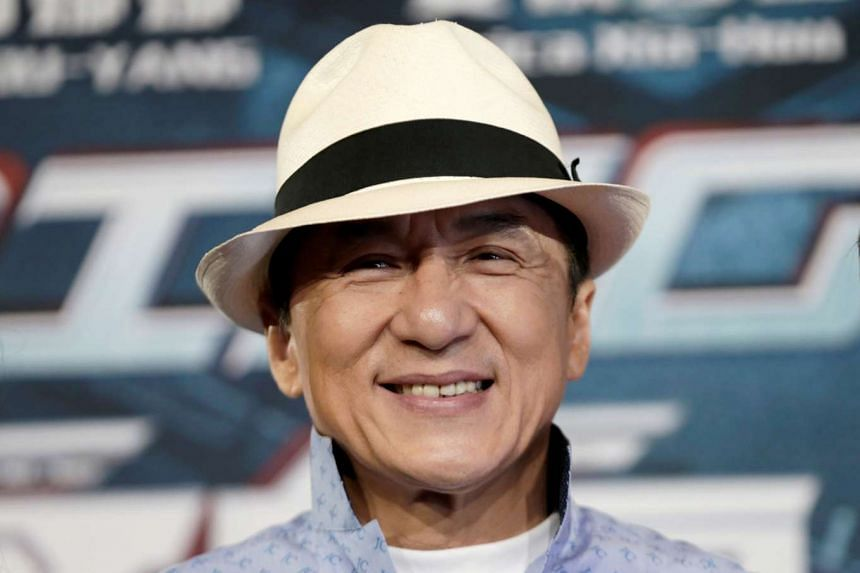 Jackie Chan poses for the cameras at the announcement of the beginning of production for the science fiction action film Bleeding Steel.