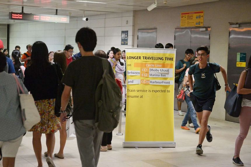 A notice put up to inform commuters of the increase in travel time on the Circle Line on Sept 1, 2016.