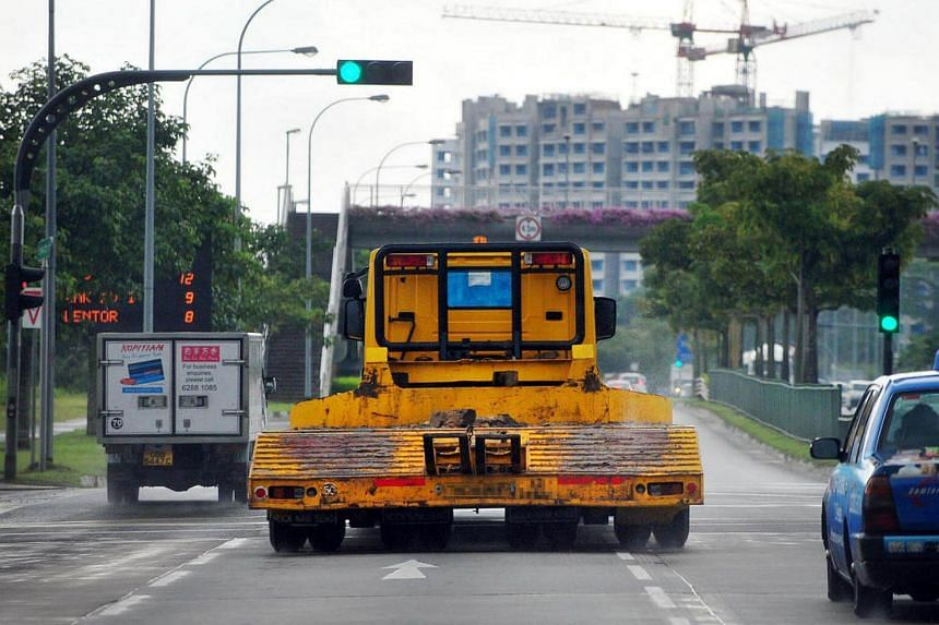 A heavy vehicle on the road.