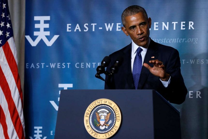 US President Barack Obama delivers remarks to the Pacific Islands Conference of Leaders at the East West Center in Honolulu, Hawaii, on Aug 31, 2016.