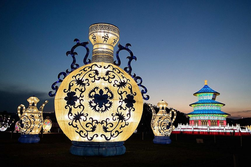 """Illuminated lanterns displaying a riot of colours at """"China Magic - Festival Of Light"""" in Vienna, Austria, on Thursday. At the event, which is taking place from now till Oct 9, visitors can immerse themselves in a world of giant lanterns that include"""