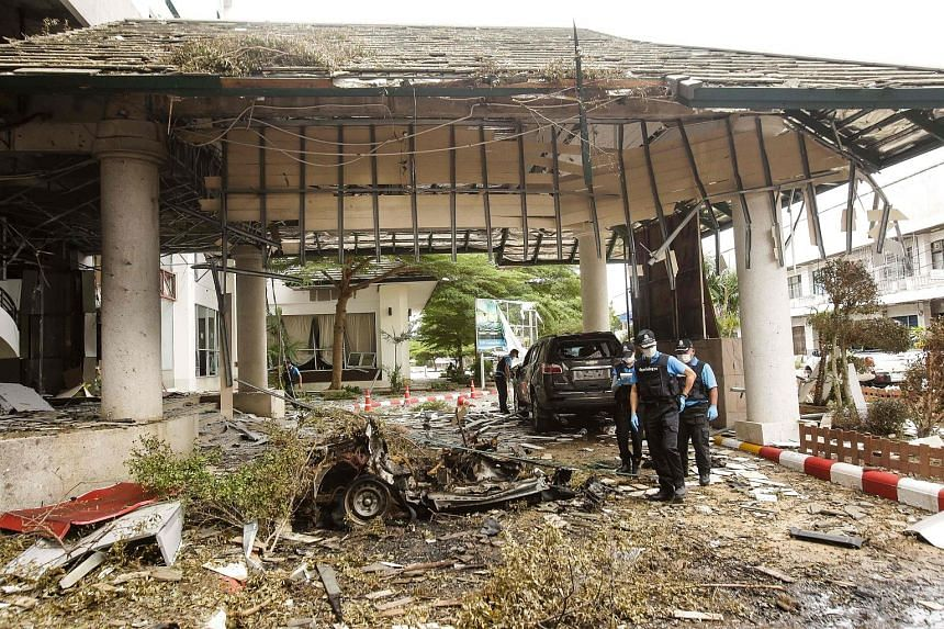 A forensics unit inspecting the site of a deadly bomb blast outside a hotel in the southern province of Pattani last month, one in a recent string of bombings in Thailand.