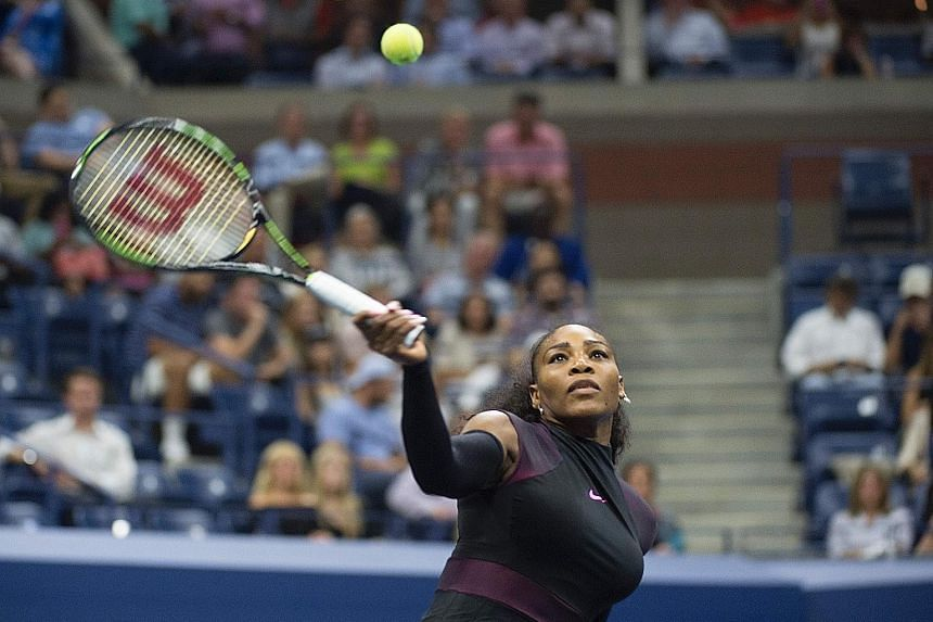Top seed Serena Williams hitting a forehand in her 6-3, 6-3 US Open victory against fellow American Vania King on Thursday.