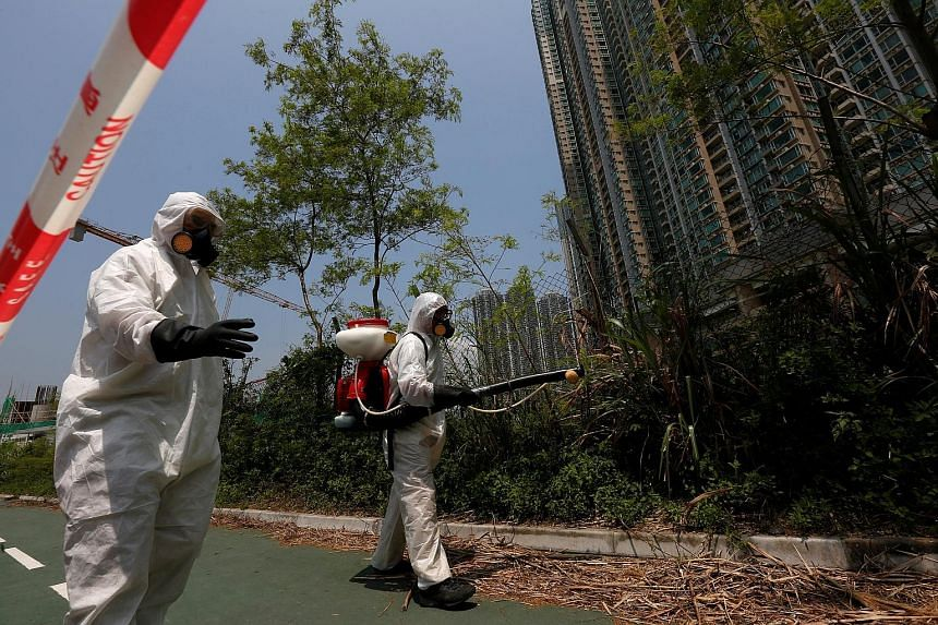 Workers from the Food and Environmental Hygiene Department in Hong Kong carrying out anti-mosquito measures outside a construction site near a residential area late last month. Seventy countries and territories have reported local mosquito-borne Zika