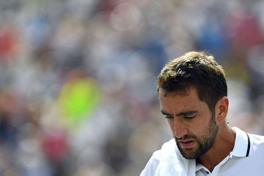 Marin Cilic of Croatia reacts during his 2016 US Open Men's Singles match against Jack Sock.