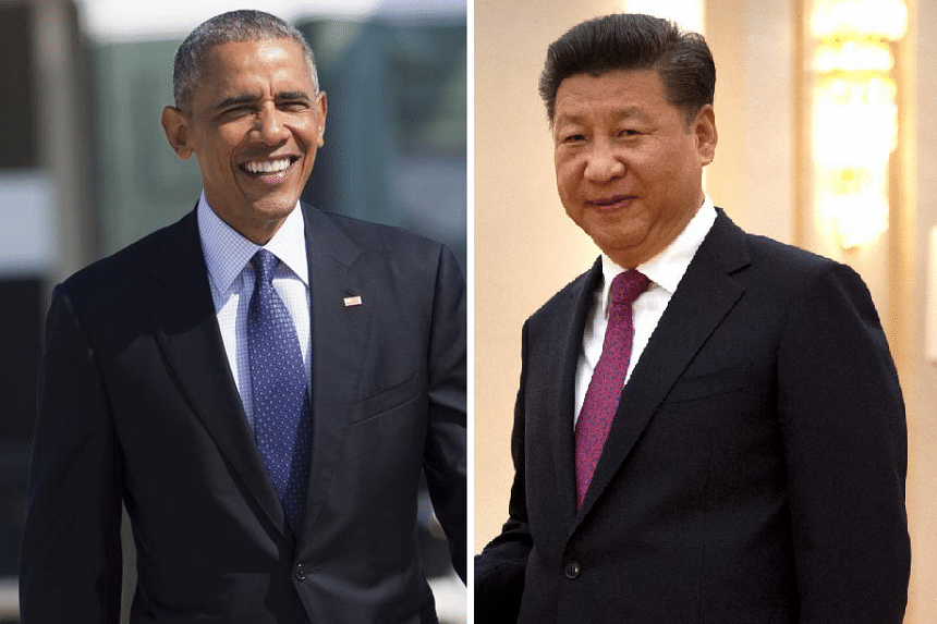 US President Barack Obama (left) and Chinese President Xi Jinping submitted their plan to join the agreement to United Nations Secretary-General Ban Ki Moon, who is in China to witness the announcement.