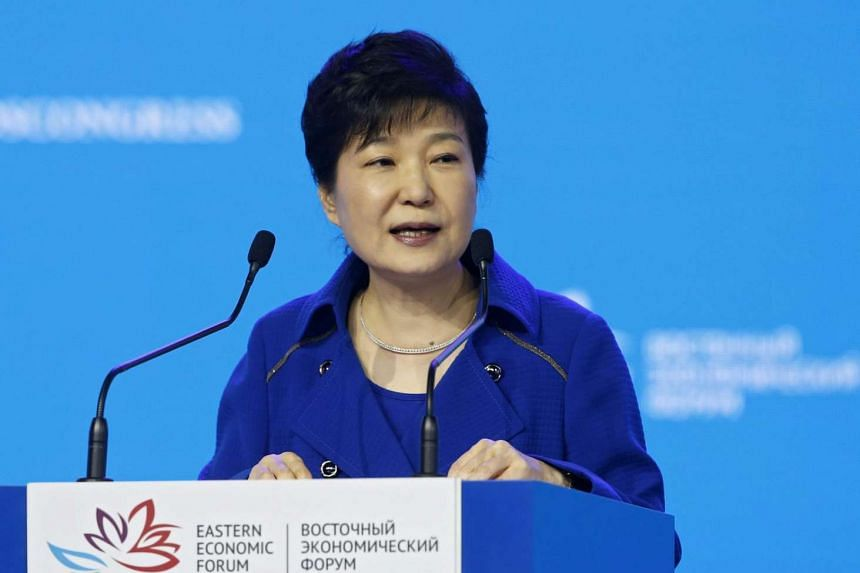 South Korean President Park Geun Hye speaking during a plenary session of the Eastern Economic Forum in Vladivostok, Russia, on Sept 3, 2016.
