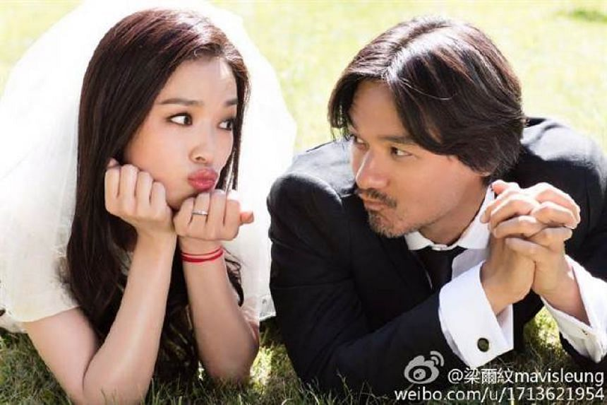 A photo from Shu Qi and Stephen Fung's wedding photoshoot.