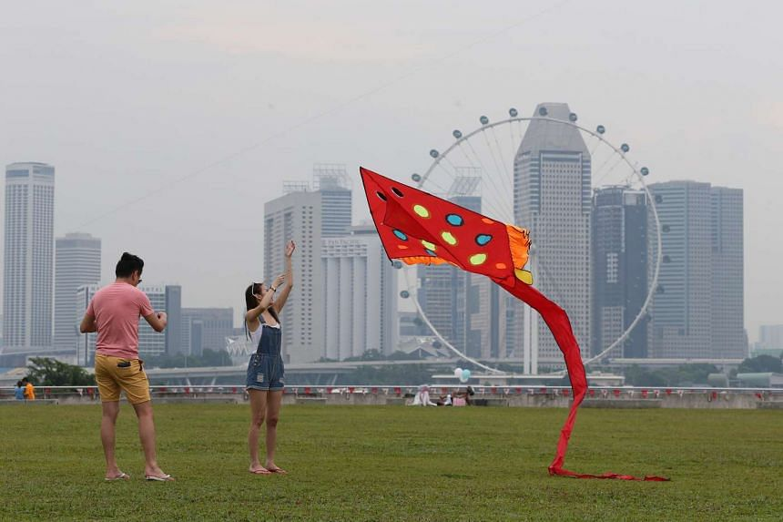 People at the Marina Barrage on Aug 27, 2016.