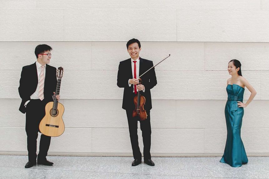 (From left) Musicians Kevin Loh, Loh Jun Hong and Abigail Sin.