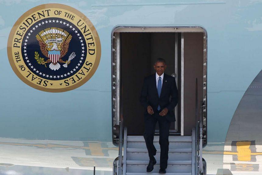 US President Barack Obama arriving at Hangzhou Xiaoshan international airport on Sept 3, 2016.