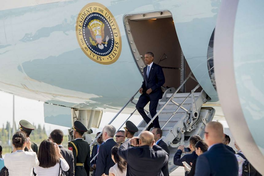 US President Barack Obama disembarks from Air Force One upon arrival at Hangzhou Xioshan International Airport in Hangzhou on Sept 3, 2016.