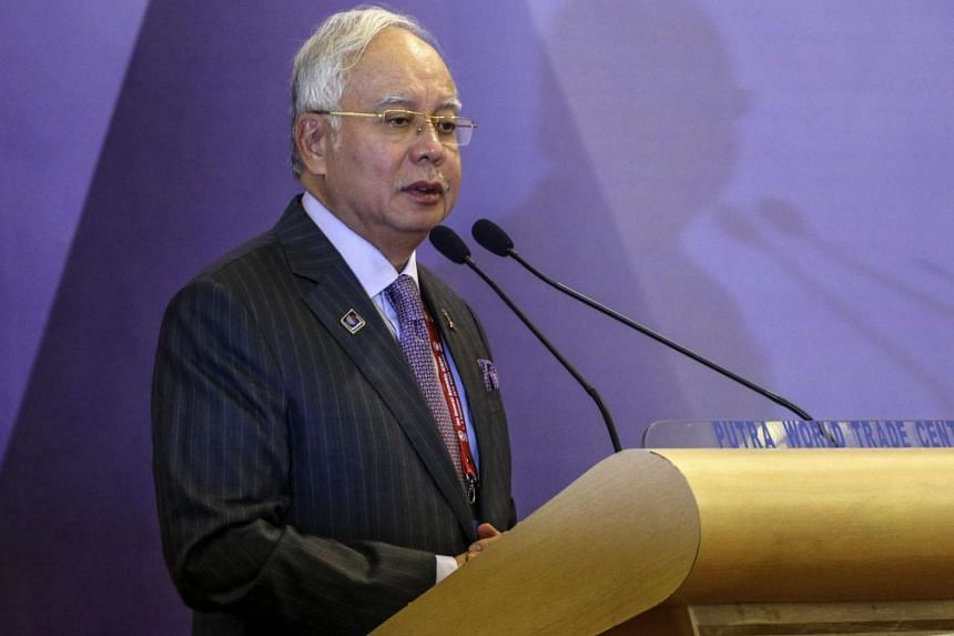 Malaysian PM Najib Razak delivering his opening speech during the 9th General Assembly of the The International Conference of Asian Political Parties in Kuala Lumpur, Malaysia, on Sept 2, 2016.