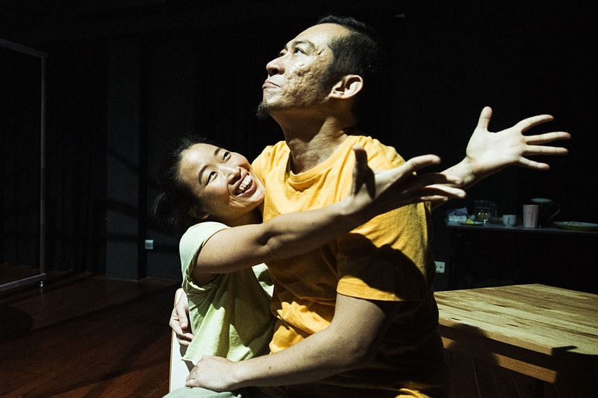 Michael Cheng (right) stars as Stony and Eng Kai Er is his daughter Leng Leng in Sleeping Naked.