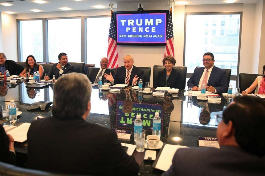 Republican presidential nominee Donald Trump speaking during a meeting with his Hispanic Advisory Council, on Aug 20, 2016.