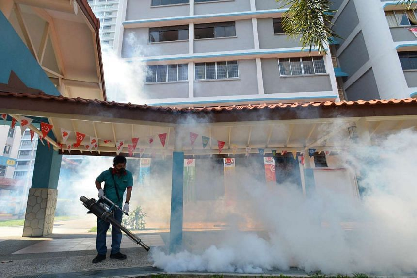 Thermal fogging around Blk 51 Sims Drive on Aug 29, 2016.
