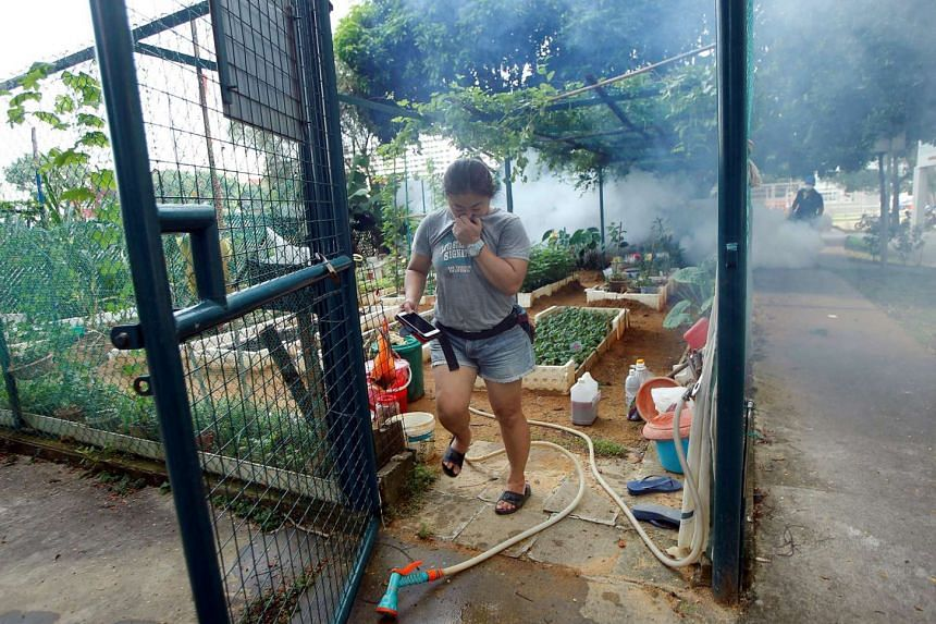 A resident leaving a community garden as a worker fogs the area at a new Zika cluster area in Singapore, on Sept 1.