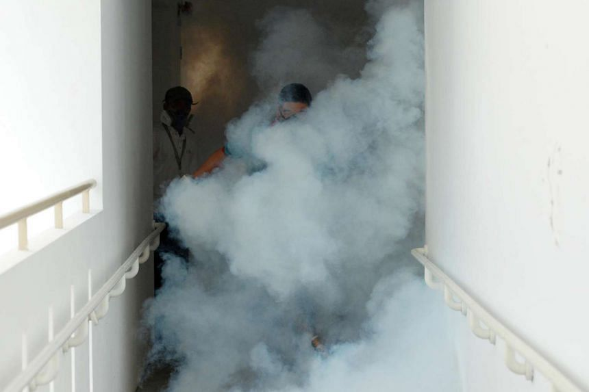 Thermal fogging around Blk 50 Sims Drive on Aug 29.