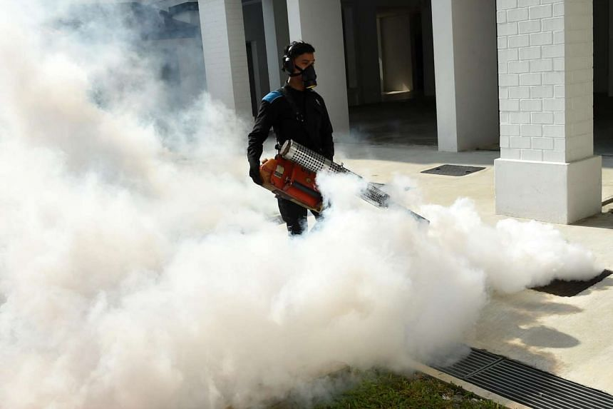 A pest control staff fumigating the drainage at Macpherson on Aug 31.