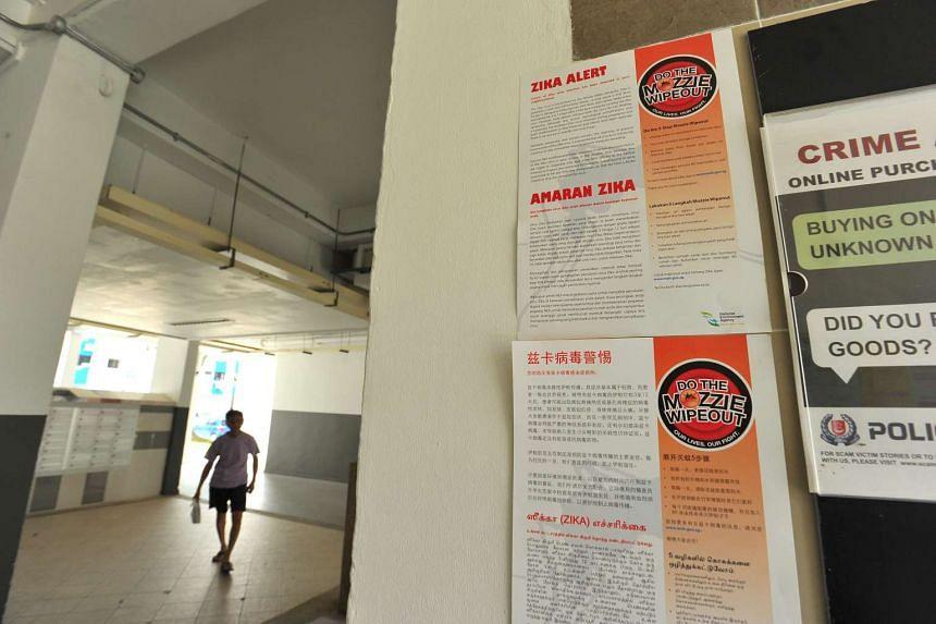 Zika alert poster outside the lift below Block 107 Aljunied Crescent on Sept 2, 2016.