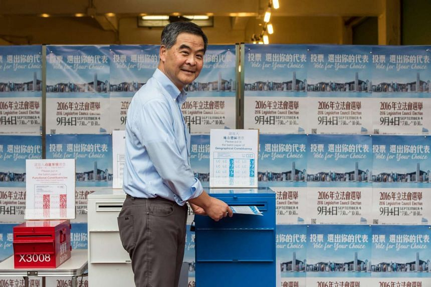 Hong Kong's Chief Executive Leung Chun Ying casting his vote for the Legislative Council elections at a polling station in Hong Kong on Sept 4, 2016. Hong Kong goes to the polls on September 4 in an election which for the first time sees young indepe