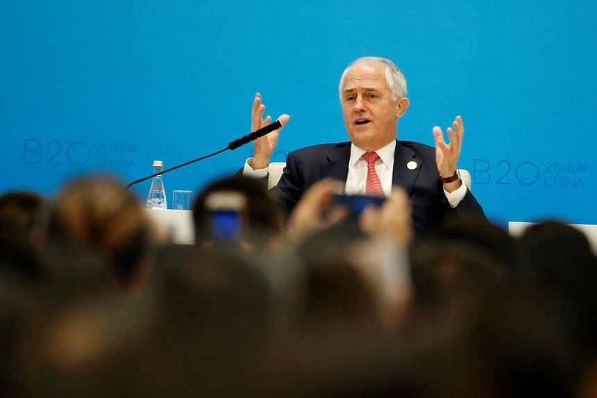 Australian Prime Minister Malcolm Turnbull attends a session during the B20 Summit ahead of G20 Summit, in Hangzhou, Zhejiang province, China on Sept 4, 2016.