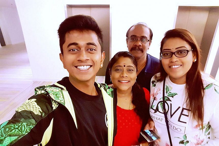 Above: The tour bus overturned on the Karak-KL highway while returning to Singapore from Genting Highlands on Wednesday. From left: Mr Navindran Manokaran, his mother, Madam Muniandy Barvathi, his father R. Manokaran and sister M. Priyatharsini.