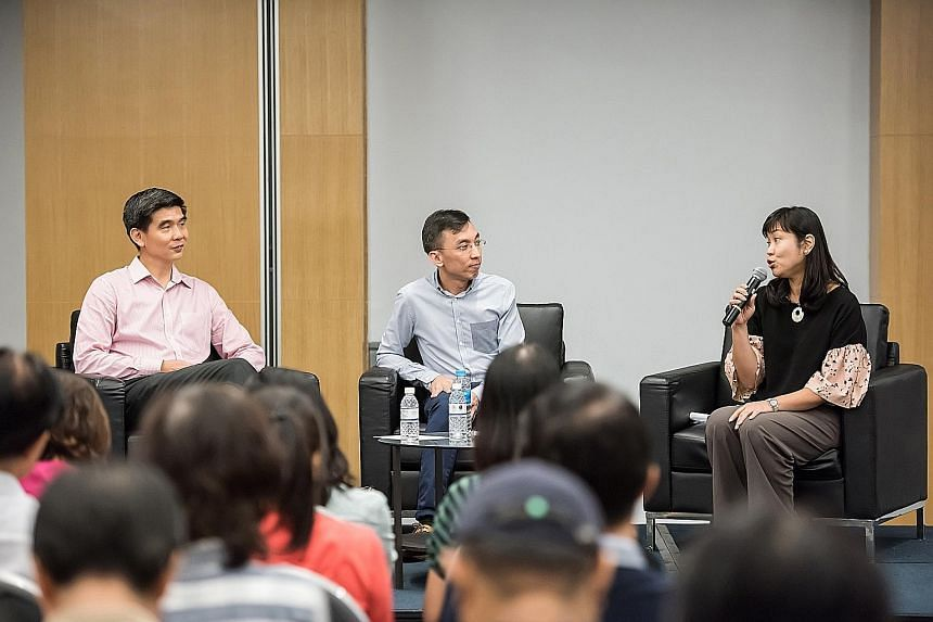 Mr Soh Chin Heng, deputy chief executive officer (services) of the CPF Board (far left), and Mr Christopher Tan, a CPF Advisory Panel member, at the roadshow moderated by Ms Lorna Tan
