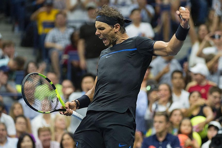 Rafael Nadal celebrating his third-round victory over Andrey Kuznetsov. The Spaniard is determined to make up for lost time after missing the previous two Grand Slams because of injury. He has been in imperious form at Flushing Meadows and has not dr