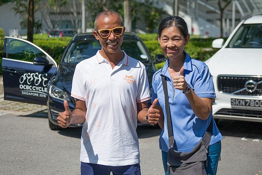 Both Ravindran Retnam and Sally Lim went on the Volvo Route Familiarisation Ride to attune themselves to the OCBC Cycle ride next month.