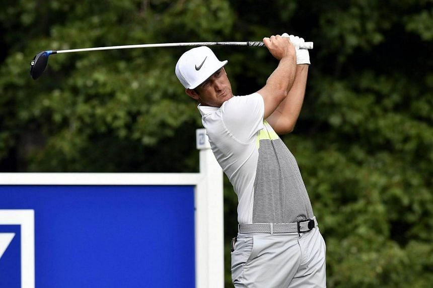 Kevin Chappell hits his tee shot on the 14th hole during the second round of the 2016 Deutsche Bank Championship golf tournament at TPC of Boston on Sept 3.