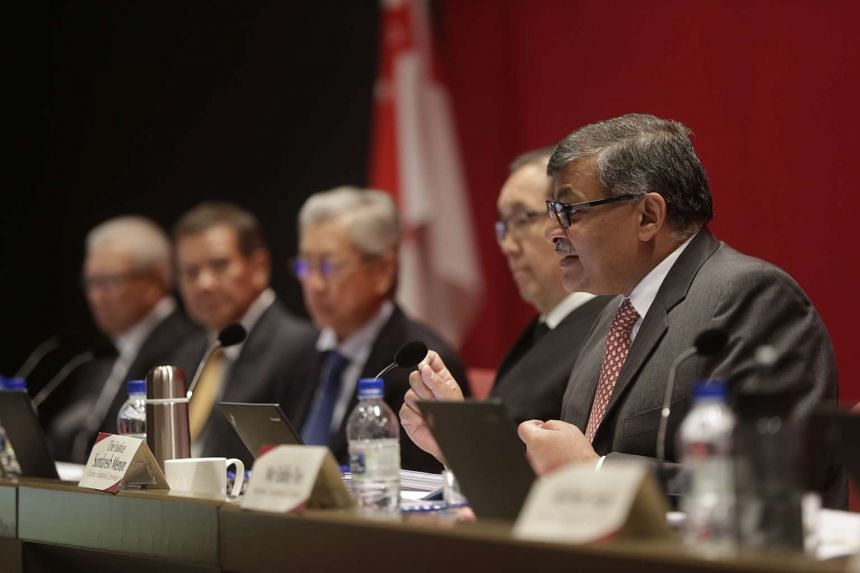 Chief Justice Sundaresh Menon (right), speaking at the Constitutional Commission hearing on elected presidency on May 6, 2016.