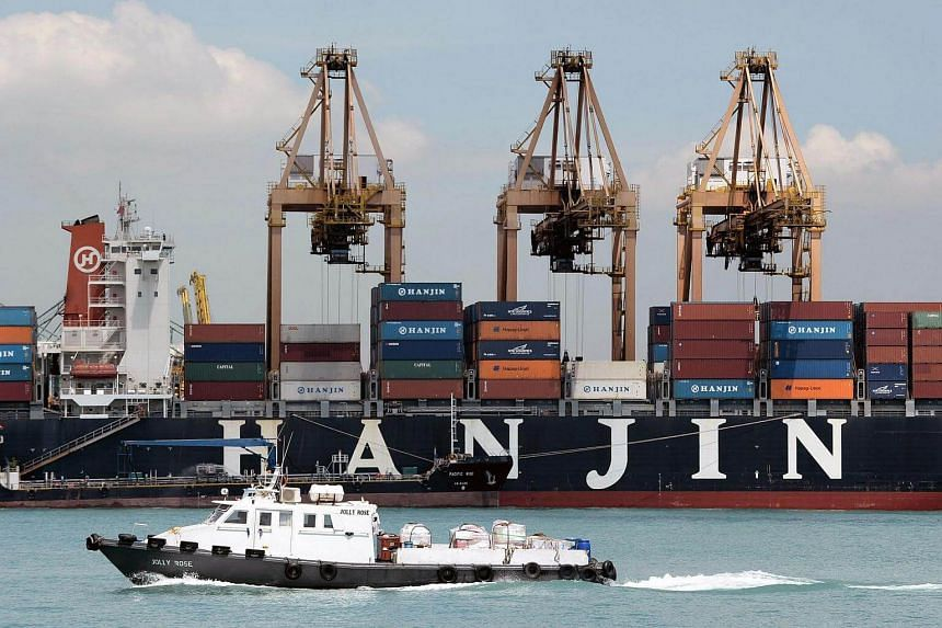South Korean Hanjin shipping vessel entering the port in Singapore on April 12, 2013.